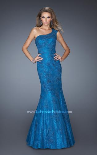 Picture of: One Shoulder Mermaid Prom Dress with Lace Overlay, Style: 19604, Main Picture