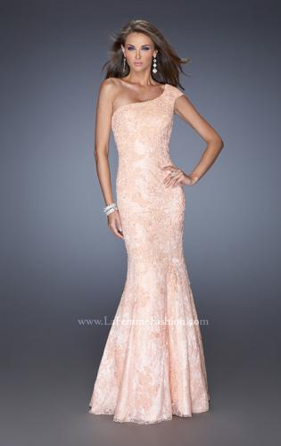 Picture of: One Shoulder Mermaid Prom Dress with Lace Overlay, Style: 19604, Detail Picture 1