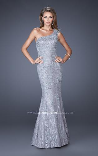 Picture of: One Shoulder Mermaid Prom Dress with Lace Overlay, Style: 19604, Detail Picture 2