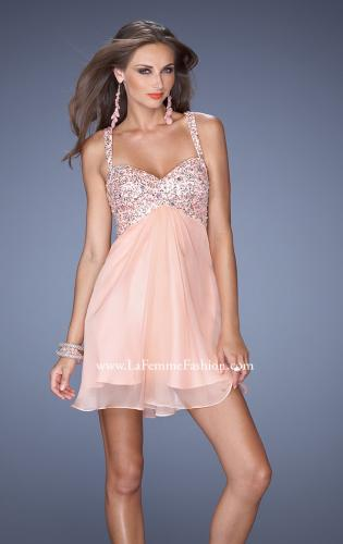 Picture of: Short Chiffon Prom Dress with Beaded Bodice and Straps, Style: 19666, Main Picture