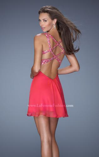 Picture of: Short Chiffon Prom Dress with Beaded Bodice and Straps, Style: 19666, Back Picture