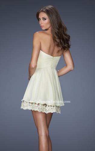 Picture of: Short Chiffon Prom Dress with Bedazzled Lace Underlay, Style: 19687, Back Picture