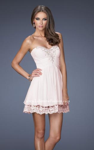 Picture of: Short Chiffon Prom Dress with Bedazzled Lace Underlay, Style: 19687, Detail Picture 1