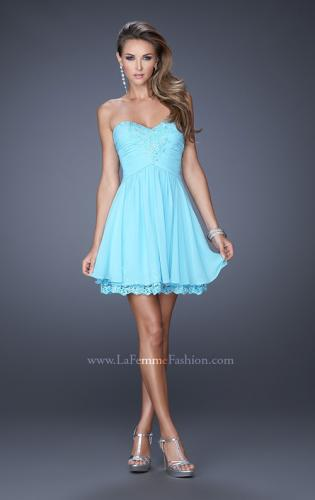 Picture of: Short Chiffon Prom Dress with Bedazzled Lace Underlay, Style: 19687, Detail Picture 2