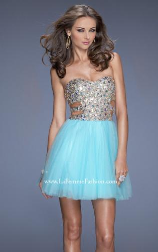 Picture of: Short Prom Dress with a Bedazzled Bodice and Tulle Skirt, Style: 19701, Main Picture