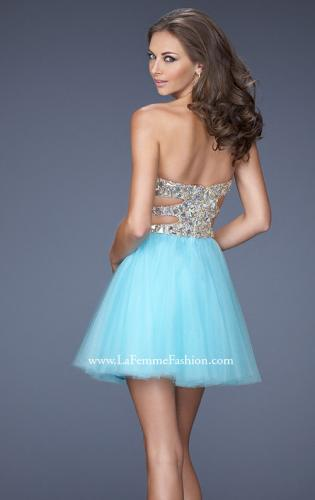 Picture of: Short Prom Dress with a Bedazzled Bodice and Tulle Skirt, Style: 19701, Back Picture