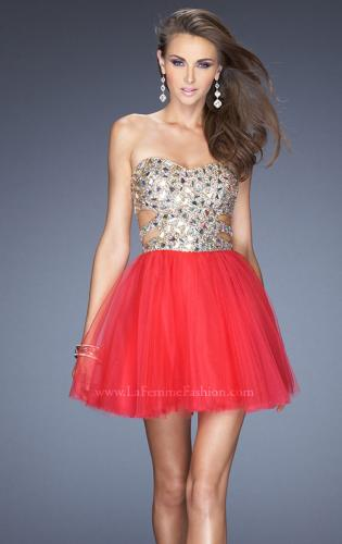 Picture of: Short Prom Dress with a Bedazzled Bodice and Tulle Skirt, Style: 19701, Detail Picture 1