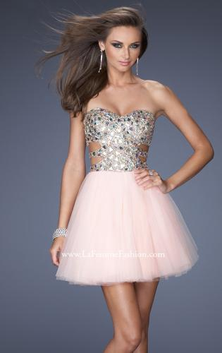 Picture of: Short Prom Dress with a Bedazzled Bodice and Tulle Skirt, Style: 19701, Detail Picture 2