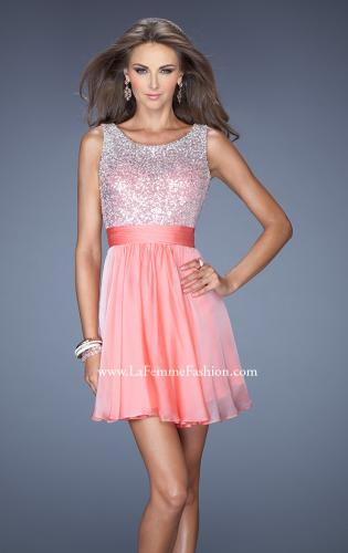Picture of: Short Prom Dress with Chiffon Skirt and Sequin Bodice, Style: 19714, Main Picture