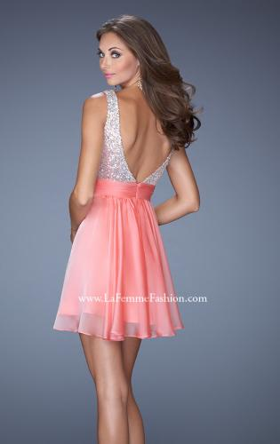 Picture of: Short Prom Dress with Chiffon Skirt and Sequin Bodice, Style: 19714, Back Picture