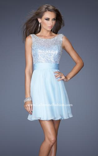 Picture of: Short Prom Dress with Chiffon Skirt and Sequin Bodice, Style: 19714, Detail Picture 1