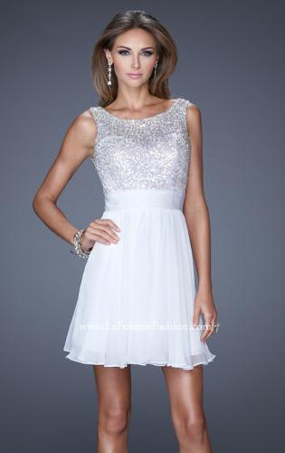 Picture of: Short Prom Dress with Chiffon Skirt and Sequin Bodice, Style: 19714, Detail Picture 2