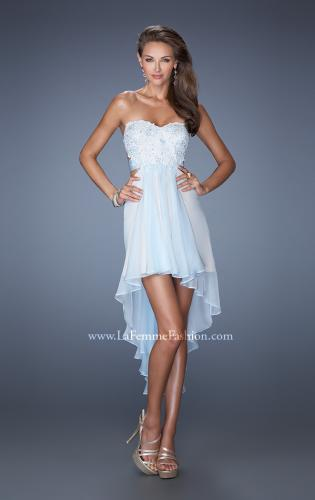 Picture of: Strapless High Low Chiffon Prom Dress with Embellished Lace, Style: 19716, Main Picture