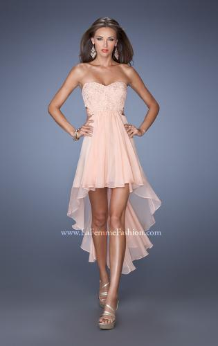 Picture of: Strapless High Low Chiffon Prom Dress with Embellished Lace, Style: 19716, Detail Picture 1