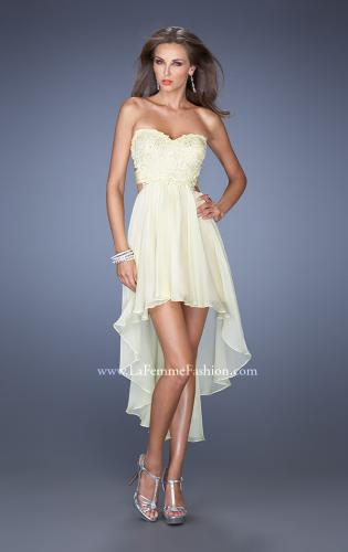 Picture of: Strapless High Low Chiffon Prom Dress with Embellished Lace, Style: 19716, Detail Picture 2