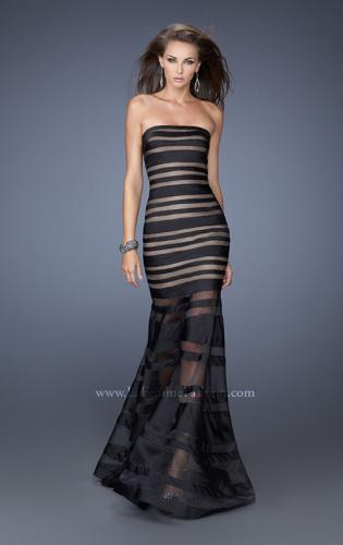 Picture of: Fitted Strapless Prom Dress with Satin Striped Overlay , Style: 19728, Main Picture