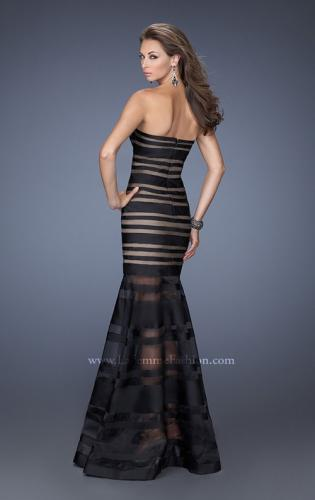 Picture of: Fitted Strapless Prom Dress with Satin Striped Overlay , Style: 19728, Back Picture