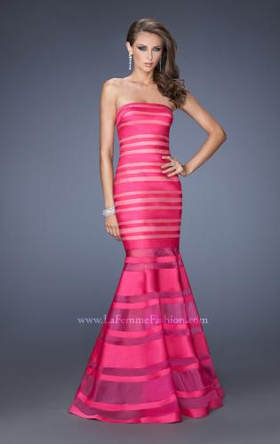 Picture of: Fitted Strapless Prom Dress with Satin Striped Overlay , Style: 19728, Detail Picture 1