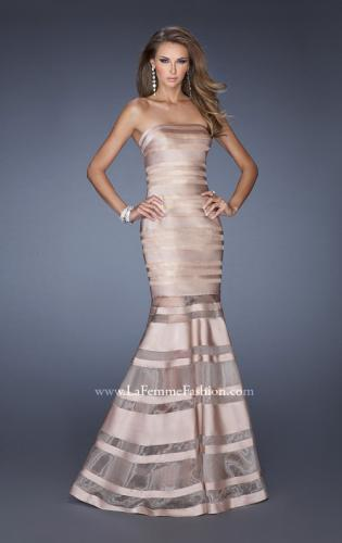 Picture of: Fitted Strapless Prom Dress with Satin Striped Overlay , Style: 19728, Detail Picture 2