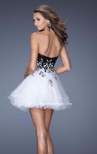 Picture of: Short Strapless Prom Dress with Sequin Bodice and Tulle Skirt, Style: 19748, Detail Picture 2
