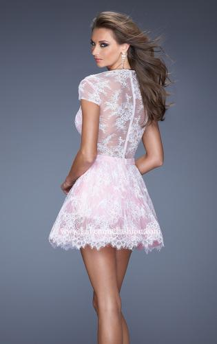 Picture of: Short Cap Sleeve Homecoming Dress with Lace, Style: 19811, Back Picture
