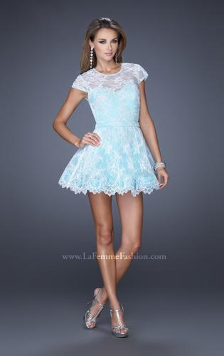 Picture of: Short Cap Sleeve Homecoming Dress with Lace, Style: 19811, Detail Picture 1