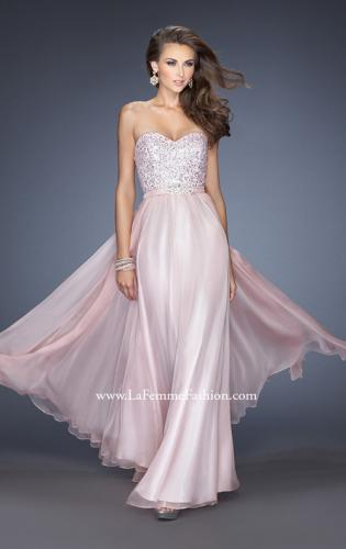 Picture of: Long Chiffon Prom Gown with Bedazzled Belt, Style: 19821, Main Picture