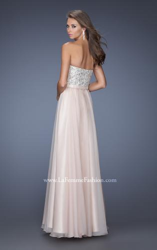 Picture of: Long Chiffon Prom Gown with Bedazzled Belt, Style: 19821, Back Picture