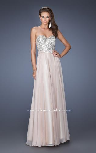 Picture of: Long Chiffon Prom Gown with Bedazzled Belt, Style: 19821, Detail Picture 1