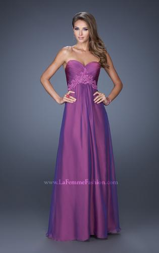 Picture of: A-line Prom Dress with Pleated Bodice and Rhinestones, Style: 19837, Detail Picture 1