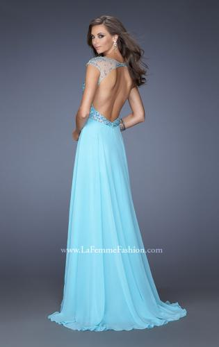 Picture of: A-line Chiffon Prom Dress with Cap Sleeves and Jewels, Style: 19857, Back Picture