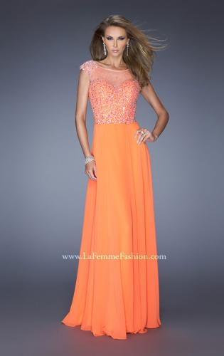 Picture of: A-line Chiffon Prom Dress with Cap Sleeves and Jewels, Style: 19857, Detail Picture 1