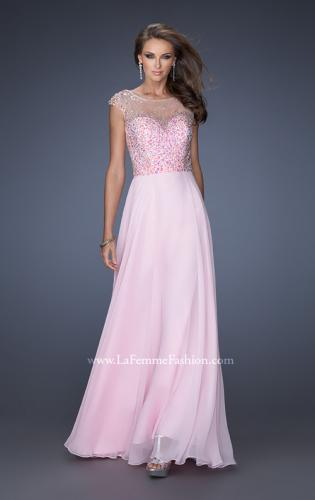 Picture of: A-line Chiffon Prom Dress with Cap Sleeves and Jewels, Style: 19857, Detail Picture 2