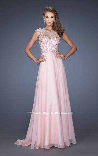 Picture of: Long Prom Dress with Cap Sleeves and Small Train, Style: 19858, Main Picture