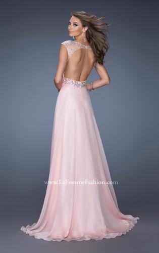 Picture of: Long Prom Dress with Cap Sleeves and Small Train, Style: 19858, Back Picture