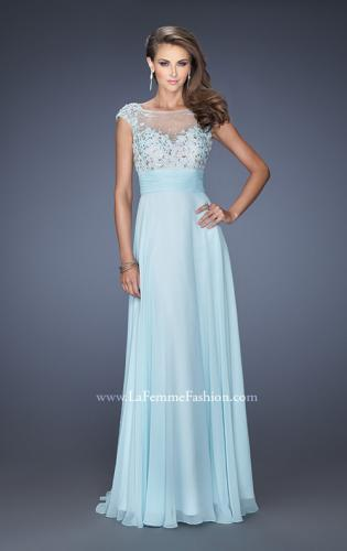 Picture of: Floral Applique A-line Prom Dress with Open Back, Style: 19859, Main Picture