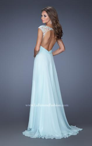 Picture of: Floral Applique A-line Prom Dress with Open Back, Style: 19859, Back Picture