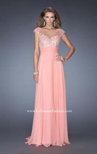 Picture of: Floral Applique A-line Prom Dress with Open Back, Style: 19859, Detail Picture 1