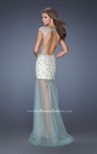 Picture of: Sheer Layered Net Dress with Cap Sleeves and Sequins, Style: 19863, Back Picture