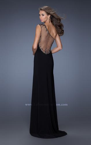 Picture of: Fitted Jersey Prom Gown with Side Slit and Beading, Style: 19866, Back Picture