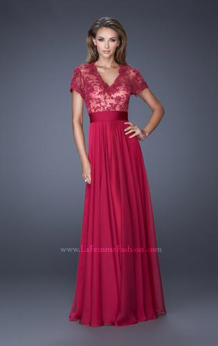 Picture of: A-Line Chiffon Evening Dress with Low V Neckline, Style: 19876, Detail Picture 2