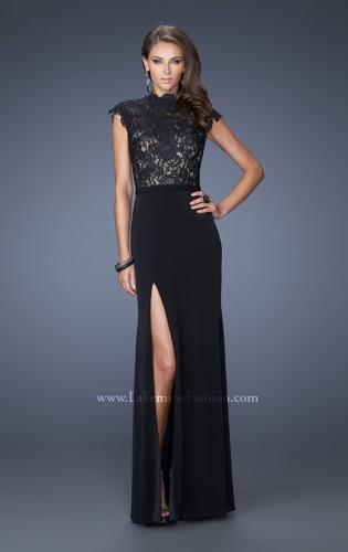 Picture of: Long Black Prom Dress with Lace and Slight Cap Sleeves, Style: 19920, Main Picture