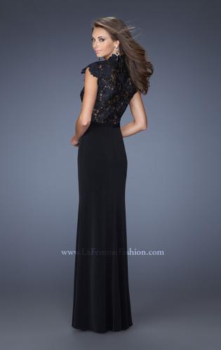 Picture of: Long Black Prom Dress with Lace and Slight Cap Sleeves, Style: 19920, Back Picture