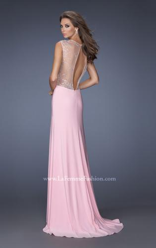 Picture of: V-Neck Jersey Prom Gown with Sheer Net Sleeves, Style: 19941, Back Picture