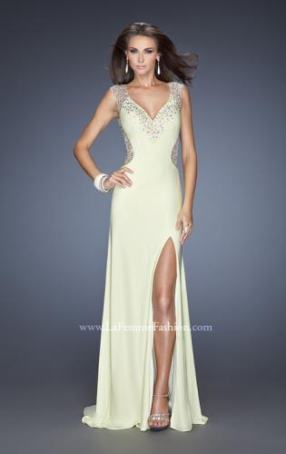 Picture of: V-Neck Jersey Prom Gown with Sheer Net Sleeves, Style: 19941, Detail Picture 1