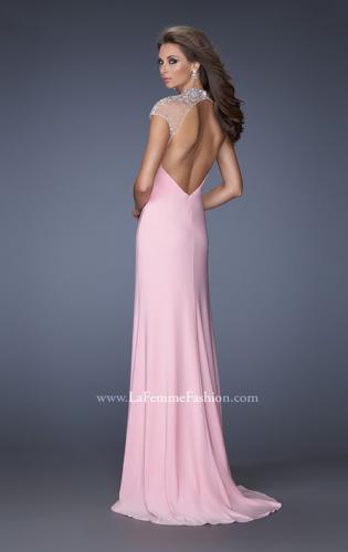 Picture of: Fitted Jersey Prom Dress with Cap Sleeves and Jewels, Style: 19942, Back Picture