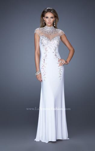 Picture of: Fitted Jersey Prom Dress with Cap Sleeves and Jewels, Style: 19942, Detail Picture 2