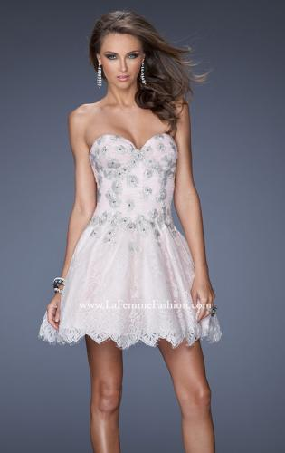 Picture of: White Lace A-line Prom Dress with Floral Appliques, Style: 19962, Main Picture