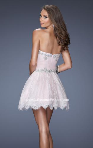 Picture of: White Lace A-line Prom Dress with Floral Appliques, Style: 19962, Back Picture