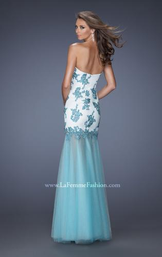 Picture of: Trumpet Style Prom Dress with Sheer Layered Tulle Skirt, Style: 19966, Back Picture